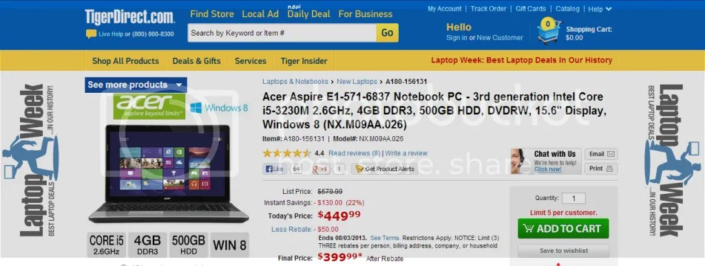 Acer Aspire E1-571-6837 3rd Gen i5, 4GB, 500GB, from Tiger Direct: 449.99, 399.99 after Rebate