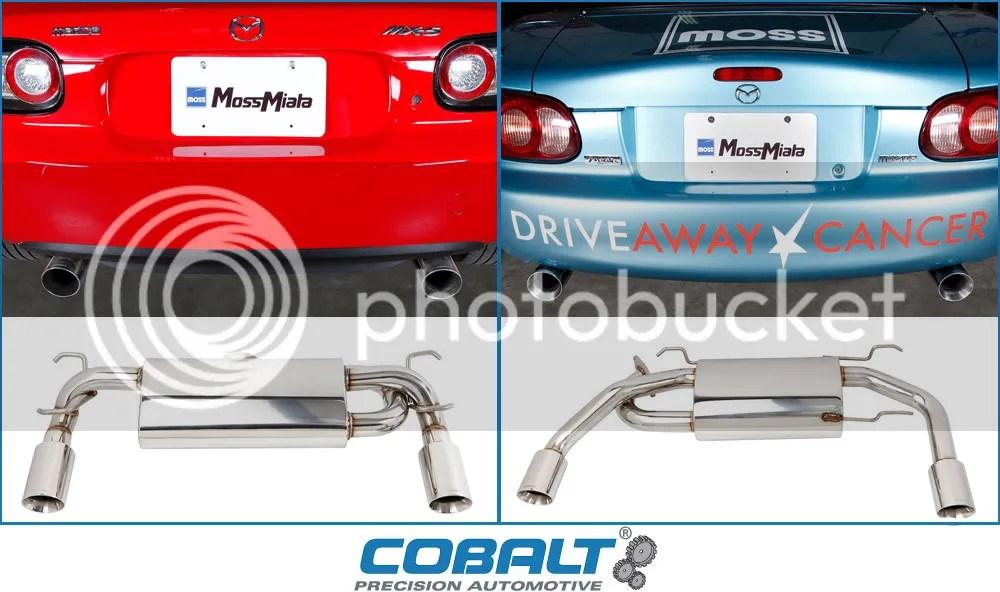 new dual tip mufflers by cobalt at mossmiata clubroadster net