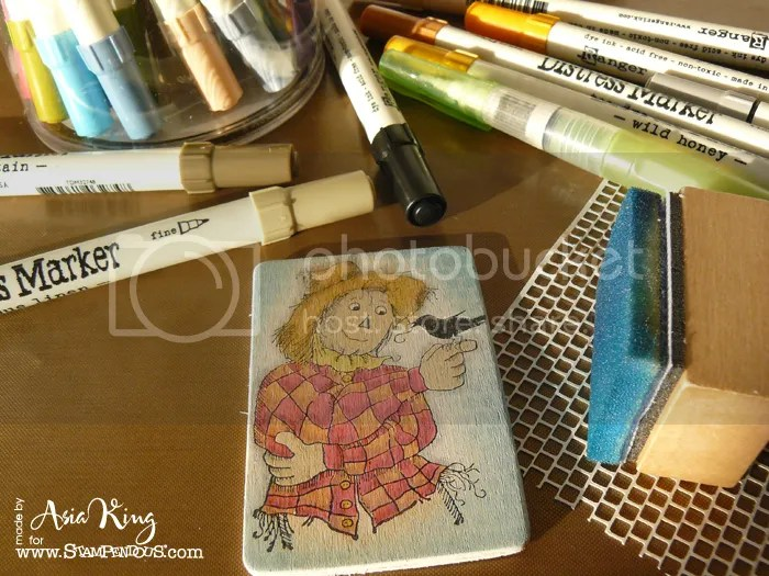 colouring tith distress markers and Stampendous rubber stamps