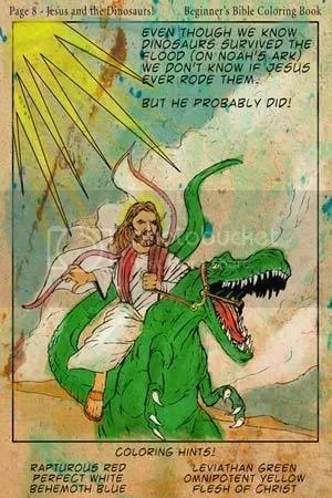 Jesus Riding a Dinosaur Pictures, Images and Photos