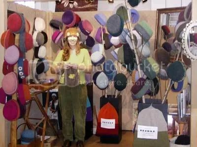 Felt Hat Maker, Carrie Cahill Mulligan, at her usual booth in Tracy Hall, for the 12th Annual Pods for the Pulpit Craft Fair in Norwich, Vermont, November, 2006.