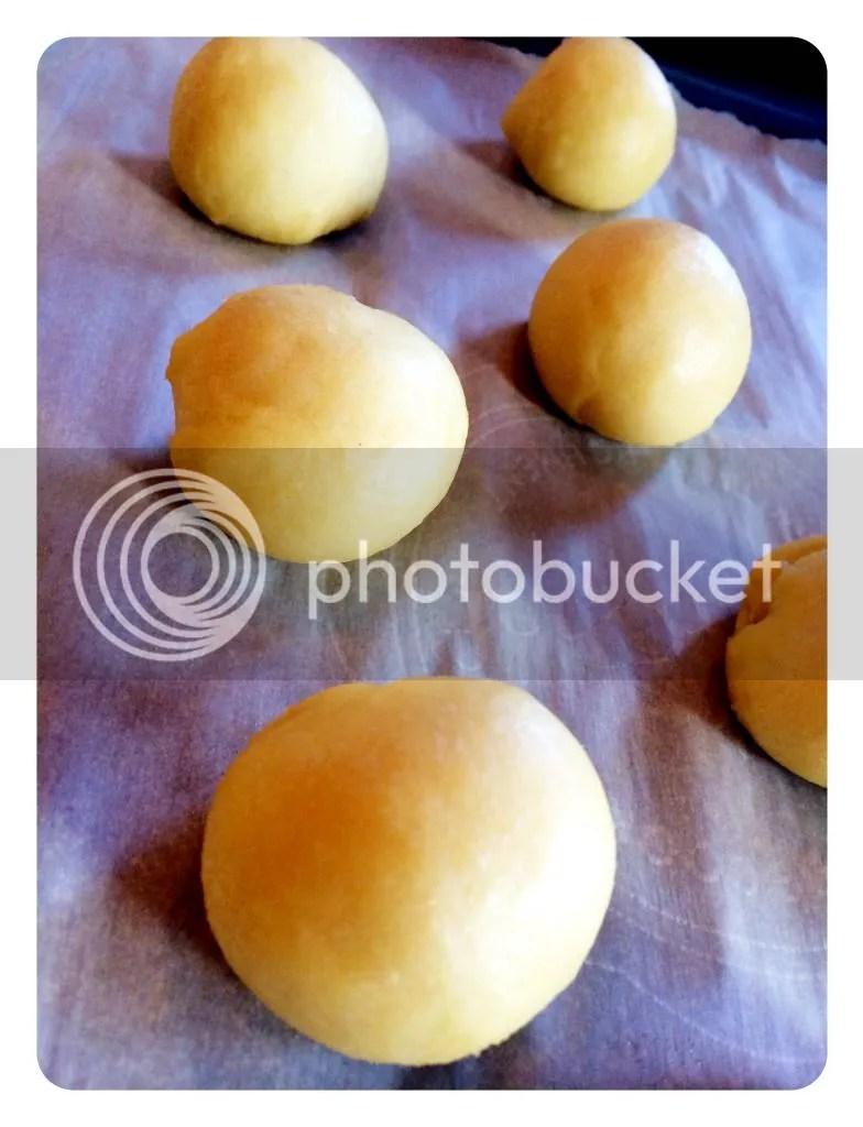 Bom dough on parchment paper