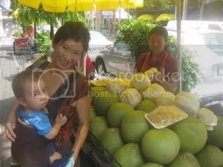 Me and Christian with pomelo, one of our everyday favorites.
