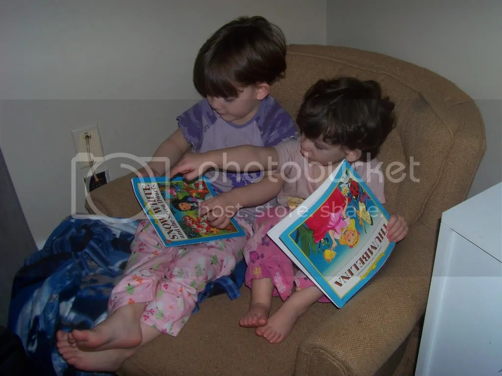 Rose and Lotus sharing a chair to read some books
