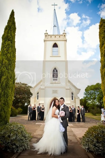 Bride and Groom at Lights Pass Lutheran Church in the Barossa
