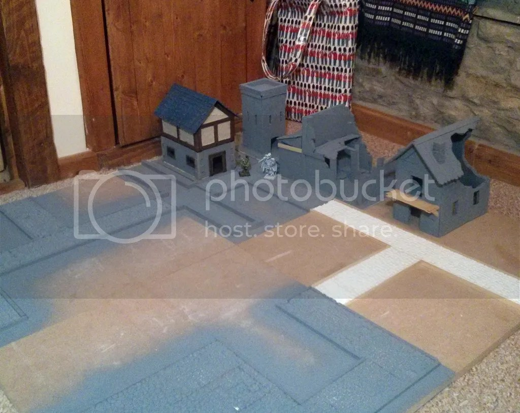 Frostgrave board with buildings and ruins