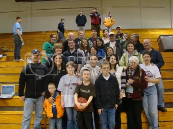 Family support at one of my basketball games