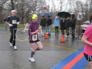 Reaching the finish line of the Snowman Shuffle 4 Miler - Cherokee Park - Louisville, Kentucky