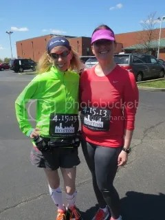 Me and Nikky pinned up and ready for our run for Boston.