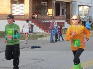 Me sprinting to the finish line of The Leprechaun 2 Mile Run - Jeffersonville, Indiana
