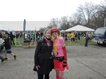 Aunt Jan and me after the Lake Minnetonka Half Marathon - Excelsior, Minnesota