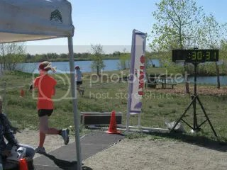 Me crossing the finish line at the Step 4 Life 5K - Brighton, Colorado