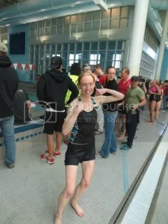Me having just finished the 300 yard swim and completing the Floyd County Tri-At-The-Y Super Sprint Triathlon