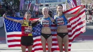 Desiree Davila, Shalane Flanagan and Kara Goucher