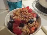 Greek yogurt and fresh berry breakfast parfait made with Bakery on Main Fiber Power Triple Berry Granola