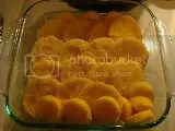 Polenta gnocchi placed, slightly overplapping, in baking dish