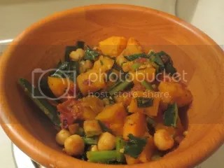 Curried Sweet Potatoes with Kale and Chickpeas
