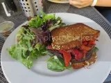 French Meadow Bakery & Cafe's Gluten-Free Roasted Vegetable Sandwich with Mixed Greens