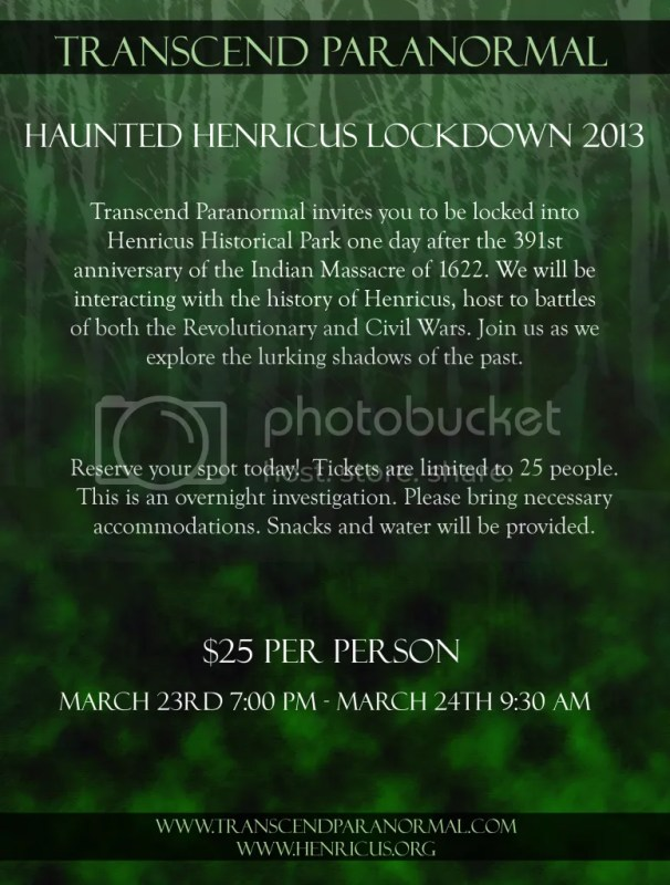 Transcend Paranormal: Haunted Henricus Lockdown 2013