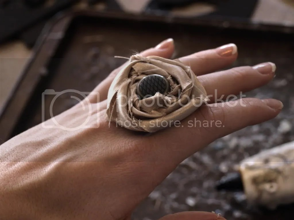 rolled fabric flower ring