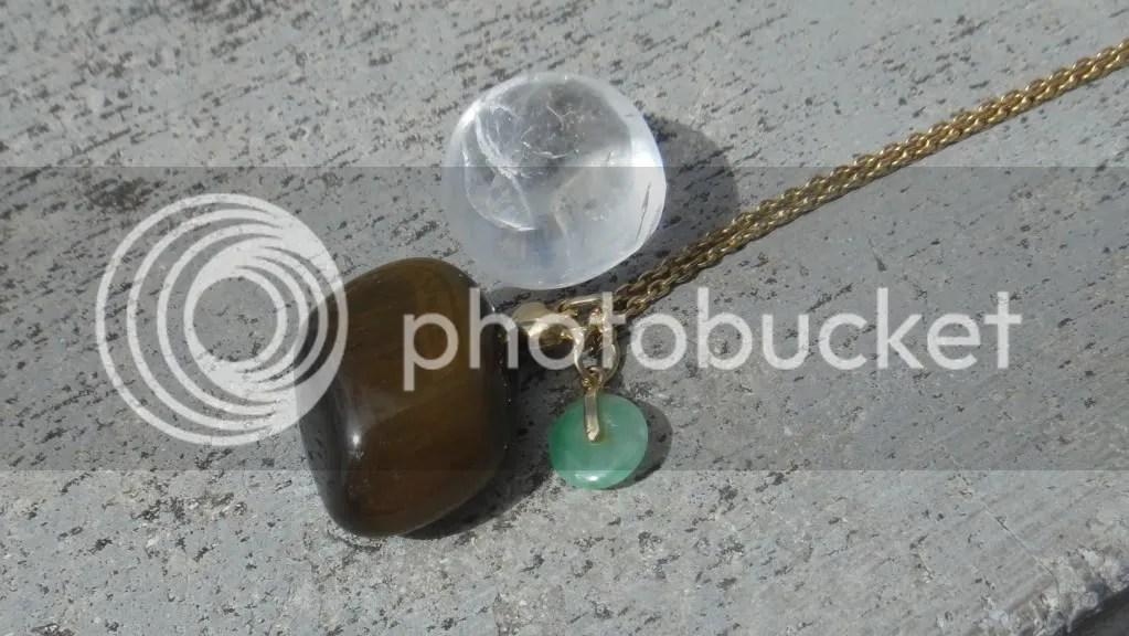 rock crystal, tiger's eye and jade