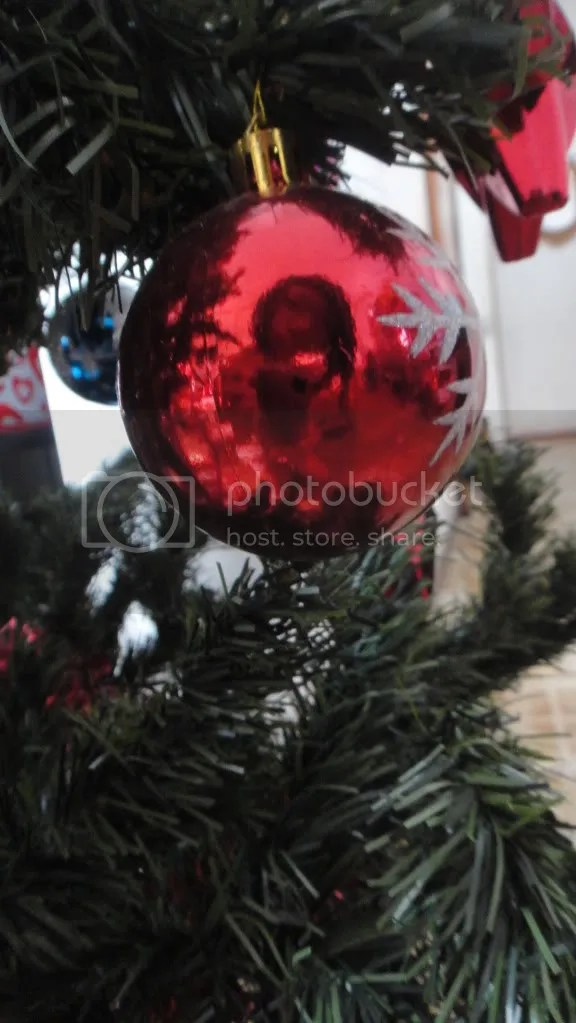 self-portrait within a christmas ball