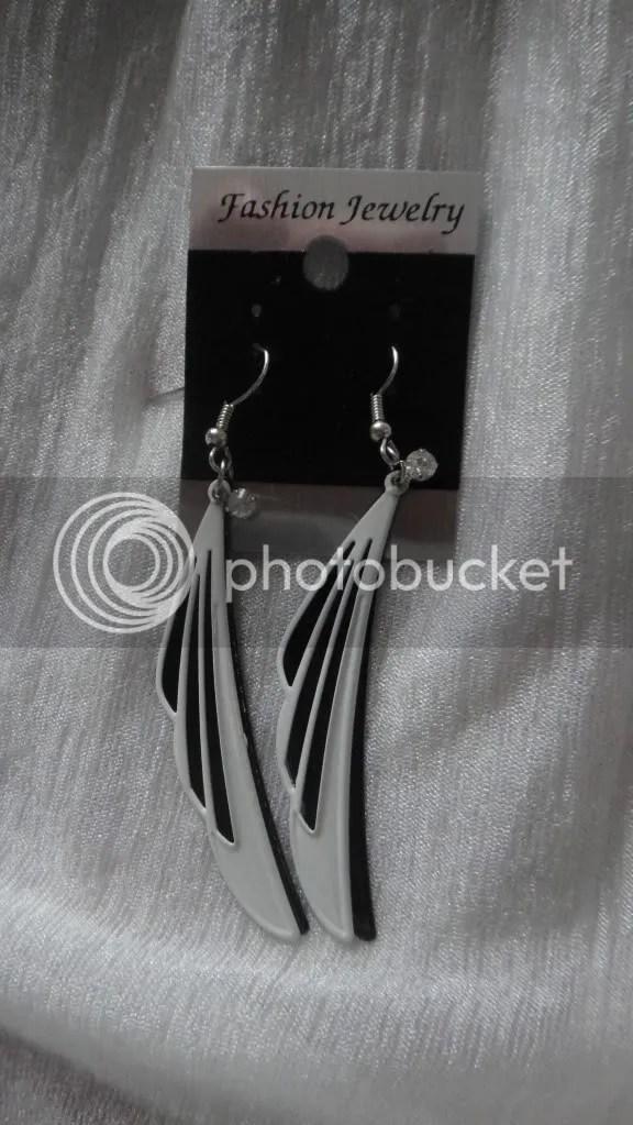 angel wings black and white earrings