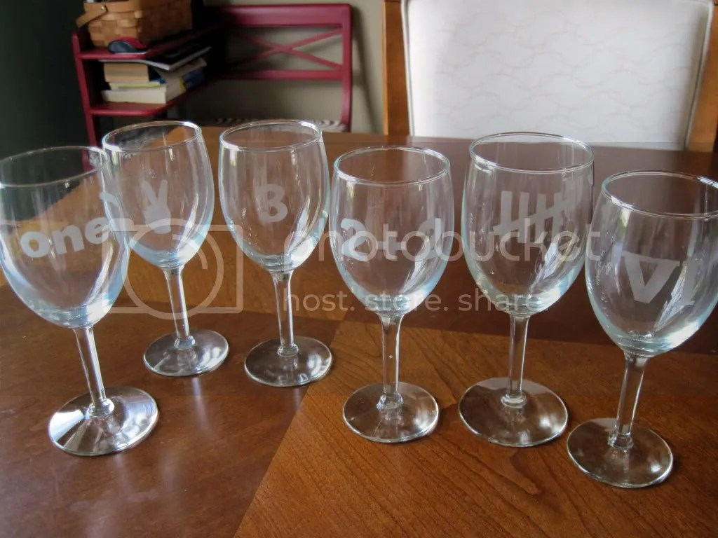 E is for etched barware