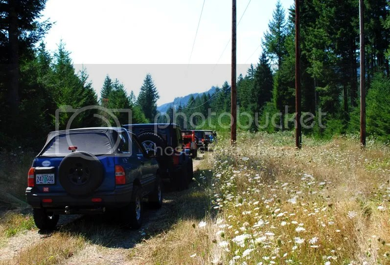 Jeep Trailer at Jeep Willys meet at Whitewater Ranch, McKenzie River Oregon