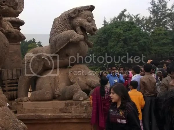 Konark sun temple, entrance lion crushes elephant and man