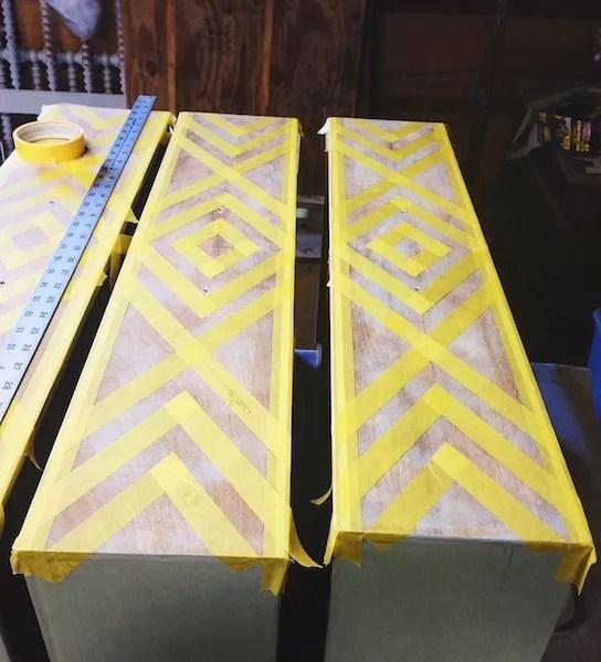 Em & Wit Furniture Design~Before and After: Tribal Dresser using Frog Tape