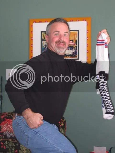 Unlike the kids, Kevin LOVES his new socks