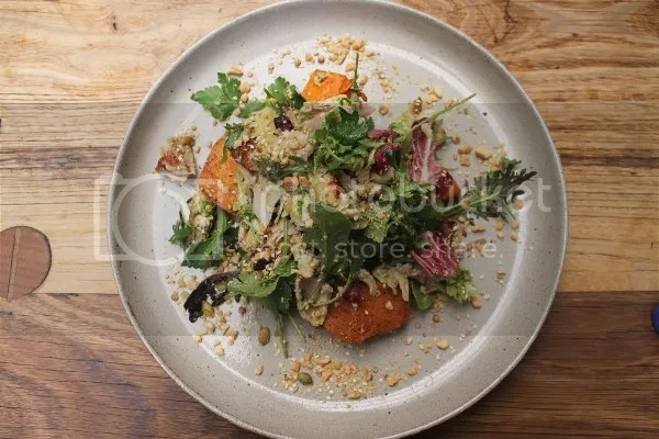 Asian drunken chicken salad, roasted sweet potato, spring onion, chili, leafs + nuts