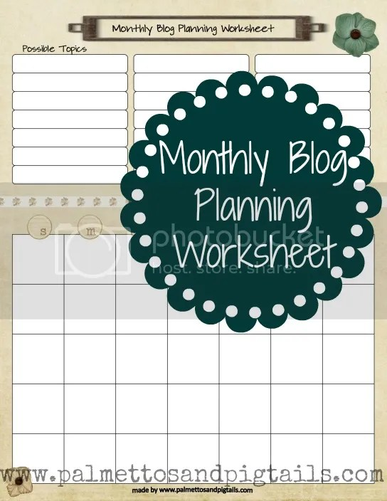 {House Manager} Monthly Blog Planning Calendar by Palmettos and Pigtails