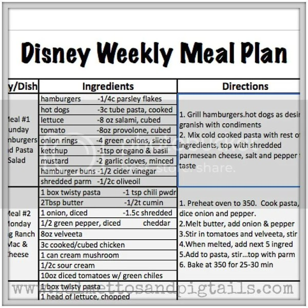 Disney Weekly Meal Plan  Palmettos And Pigtails