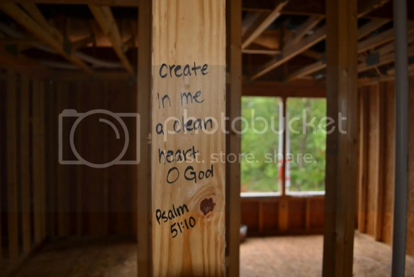 Bible Verses for each room of a new house....written on studs - PalmettosandPigtails.com