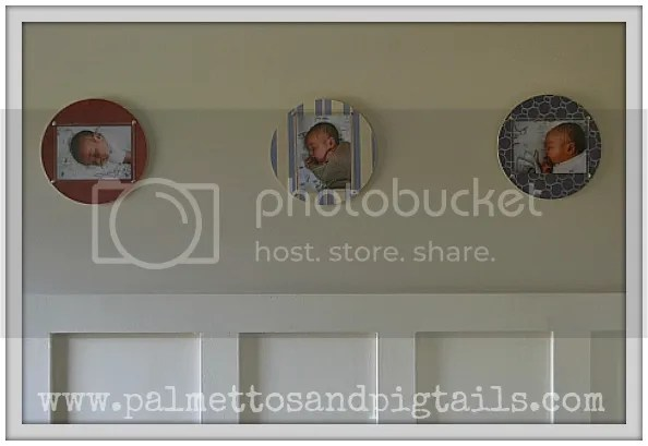 DIY Round Picture Frame tutorial for a vintage-themed baby nursery - Palmettos and Pigtails