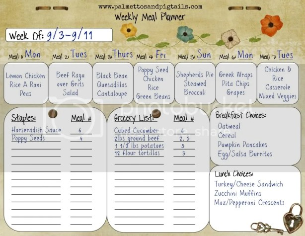 House Manager: Meal Planner Example from Palmettos and Pigtails