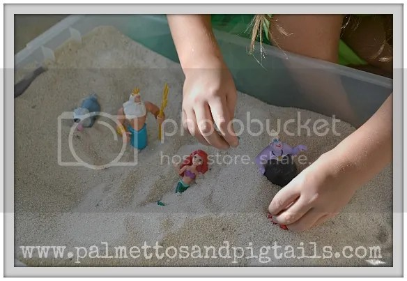 Sand play at our #TheLittleMermaid birthday party #shop #cbias #DisneyPrincessPlay