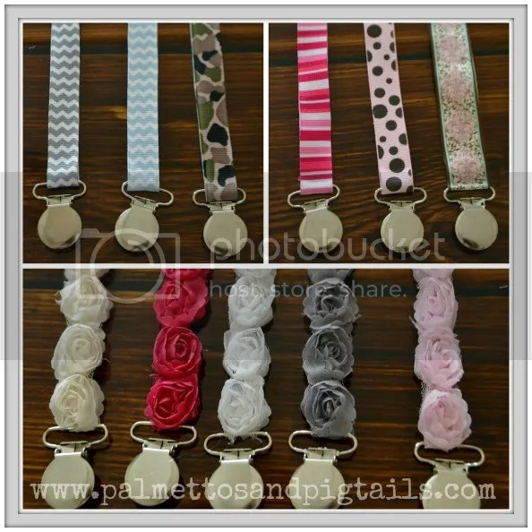 Pacifier Clips from Palmettos and Pigtails