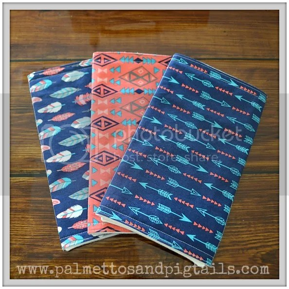 Burp Cloth Sets in Palmettos and Pigtails' Etsy Shop