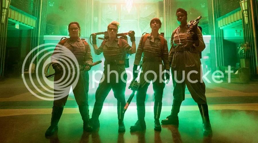 Kristin Wiig, Leslie Jones, Melissa McCarthy, and Kate McKinnon star in Ghostbusters.