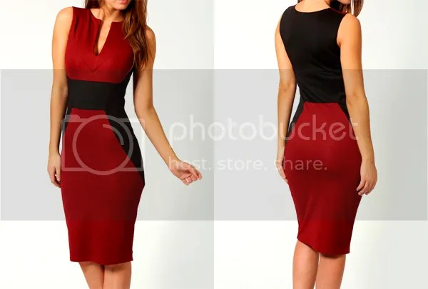 Sammy Dress: Trendy Style Polyester Color Block Beam Waist Sleeveless Bodycon Knee Length Dress