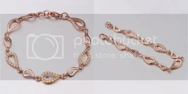 Bellast: Your Online Jewelry Shopping Destination: Elegant Linking Hollow Waterdrop Bracelet Rhinestone Crystal with 18K Gold Plated Tin Alloy Rose Gold