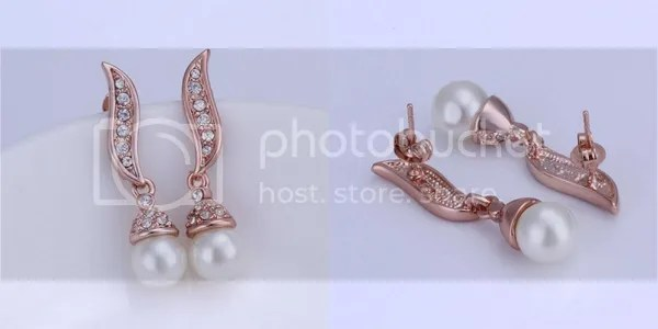 Bellast: Your Online Jewelry Shopping Destination: Rhinestone Crystal Feather Stud Earrings Artificial Pearl with 18K Gold Plated Tin Alloy Rose Gold
