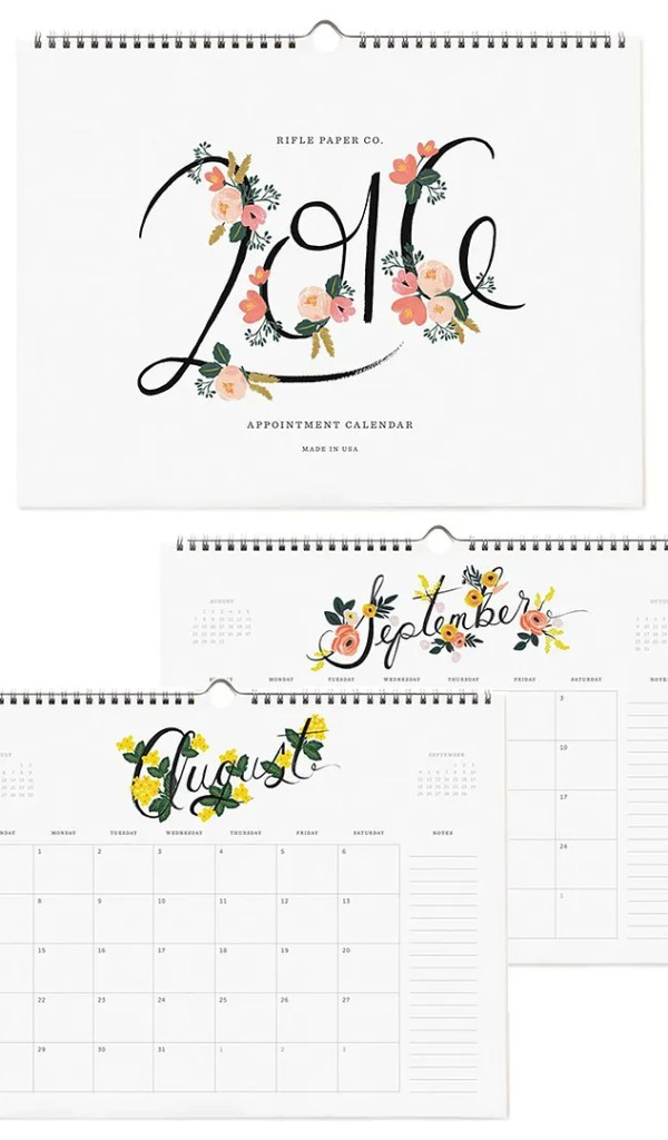 Calendario de Rifle Paper Co.
