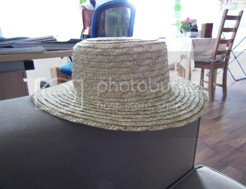 The hat I started with: A real straw boater from Claire's.