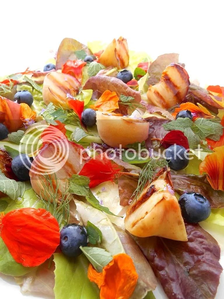 Grilled wild peach salad