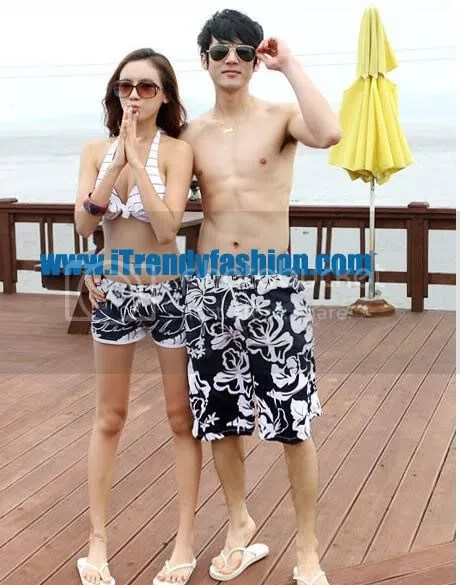 กางเกงเซิร์ฟคู่รักไปทะเล