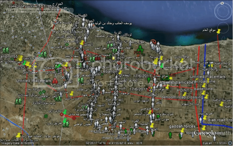 A Google Earth battle-space management tool developed by Misrata's defenders showing the Misratan advance on Dafniya, mid-June 2011. Source: Google Earth data provided to the author by the Misrata Military Council.